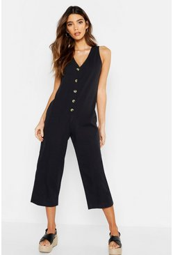 Womens Black Wide Leg Button Jumpsuit