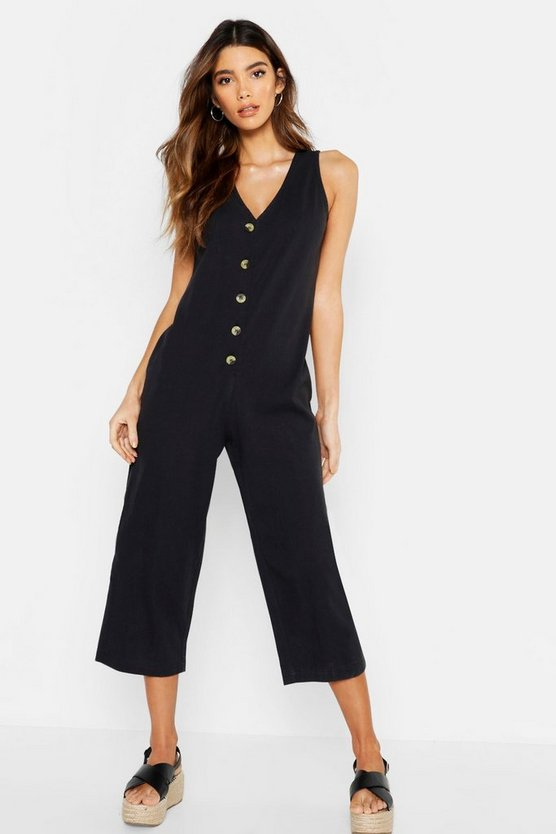 Wide Leg Button Jumpsuit