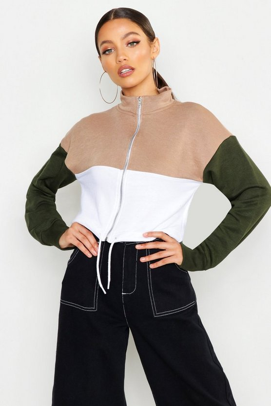 Colour Block Zip Sweat