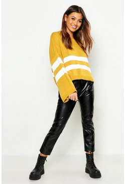 Womens Mustard Stripe Wide Sleeve Jumper