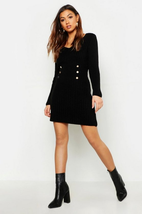 Womens Black Gold Button Knitted Dress
