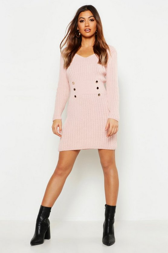 Womens Pink Gold Button Knitted Dress