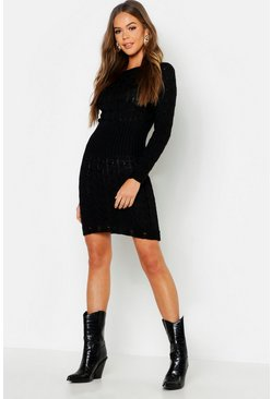 Womens Black Cable Knit Jumper Dress