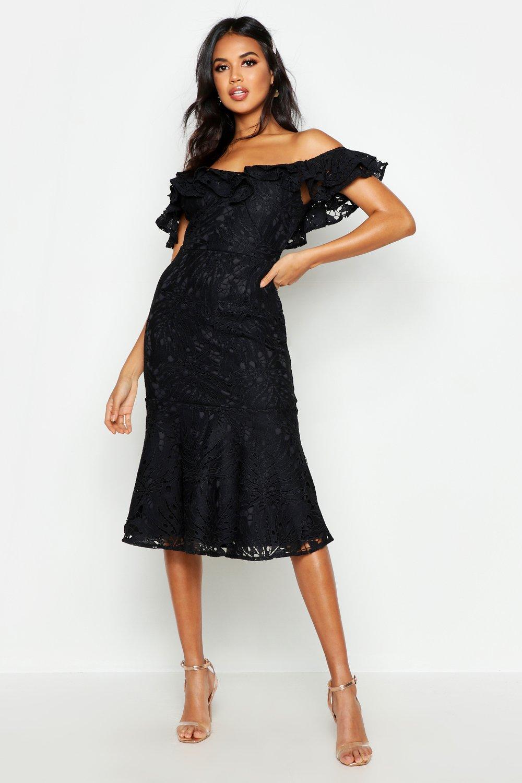 Premium Lace Off The Shoulder Midi Dress