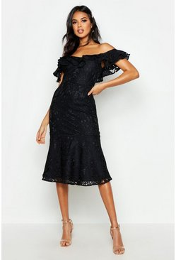 Black Premium Lace Off The Shoulder Midi Dress