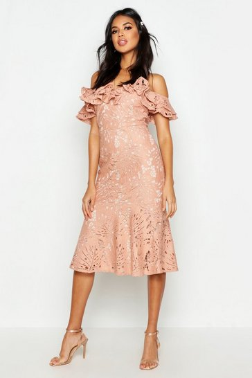 Womens Blush Premium Lace Off The Shoulder Midi Dress