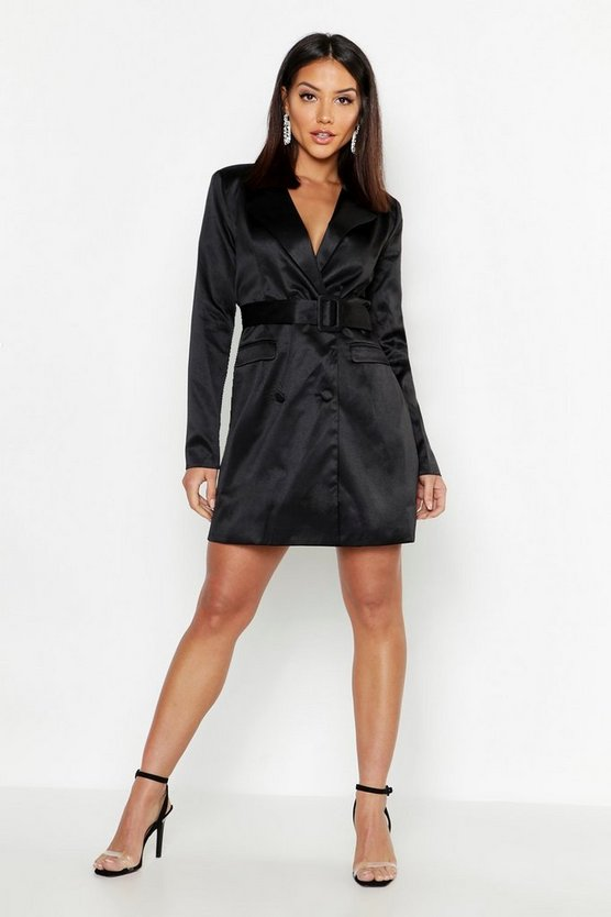 Woven Self Fabric Belted Blazer Dress