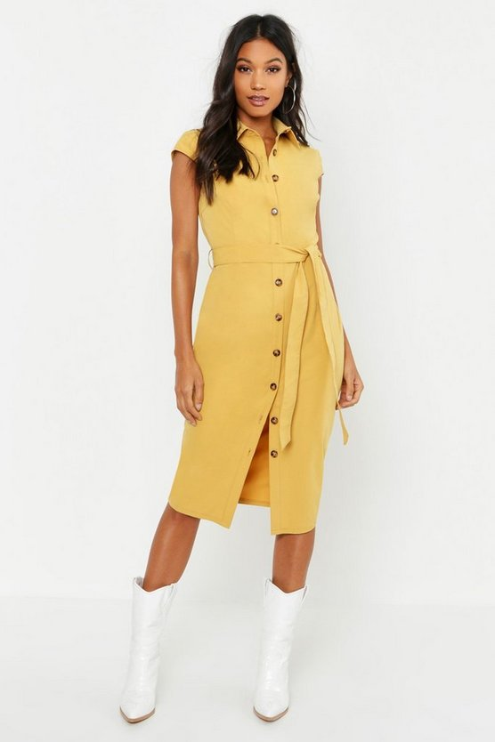 Cotton Cap Sleeve Midi Shirt Dress
