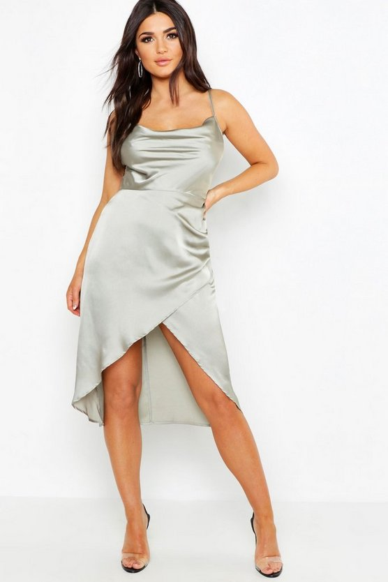 Satin Cowl Neck Wrap Skirt Midi Dress