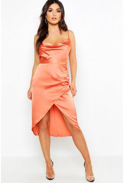 Womens Terracotta Satin Cowl Neck Wrap Skirt Midi Dress