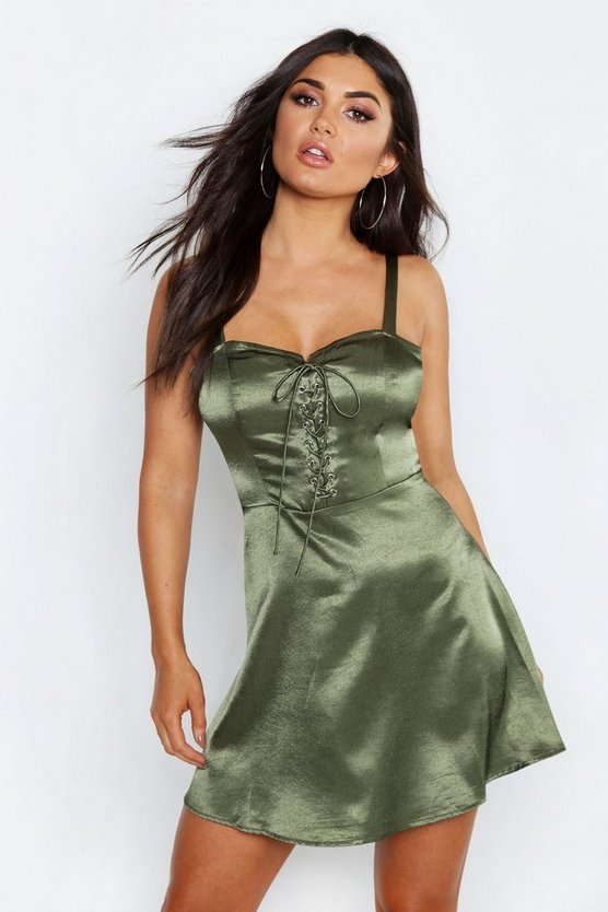 Womens Khaki Satin Lace Up Skater Dress