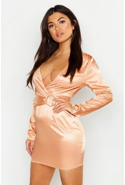 Womens Apricot Satin O Ring Detail Mini Dress