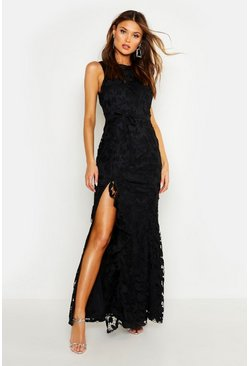 Womens Black Lace Ruffle Split Maxi Dress