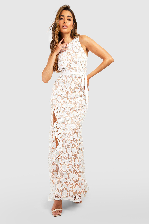 Lace Ruffle Split Maxi Dress