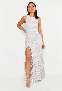 Womens Sky Lace Ruffle Split Maxi Dress