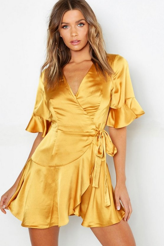 Satin Wrap Ruffle Skater Dress