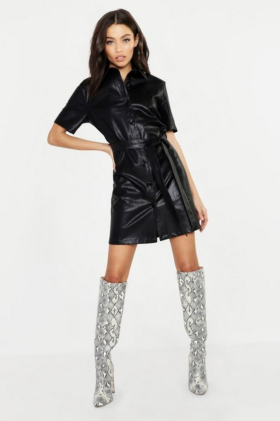 Womens Black PU Shirt Dress