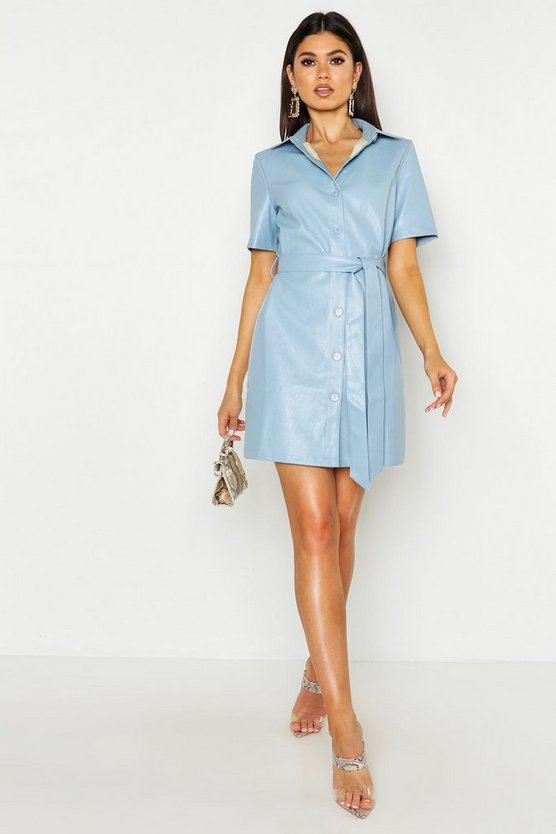 Womens Blue PU Shirt Dress