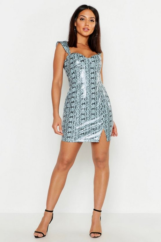 Womens Blue PU Snake Print Bodycon Dress