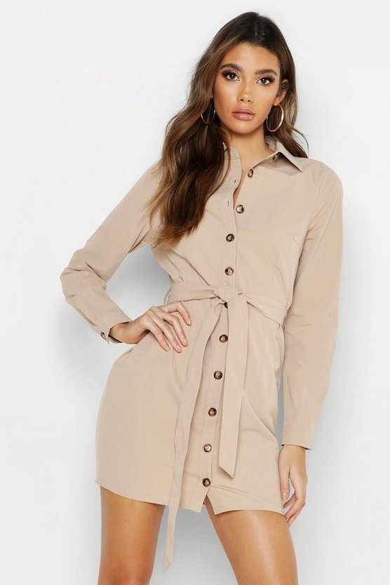 Womens Stone Cotton Bodycon Shirt Dress