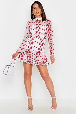 Floral Lace Frill Hem Mini Dress