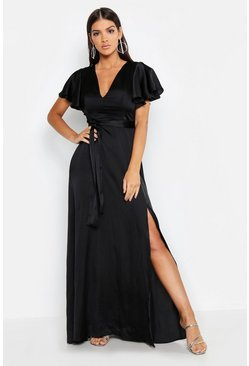 Womens Satin Frill Sleeve Maxi Dress