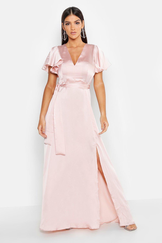1930s Evening Dresses | Old Hollywood Dress Satin Frill Sleeve Maxi Dress  AT vintagedancer.com