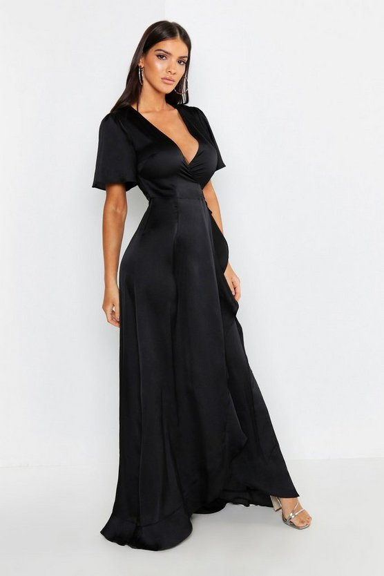 Womens Black Satin Ruffle Wrap Maxi Dress