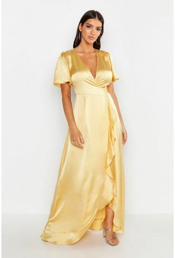 Womens Lemon Satin Ruffle Wrap Maxi Dress
