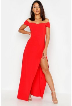 Red Off The Shoulder Maxi Dress