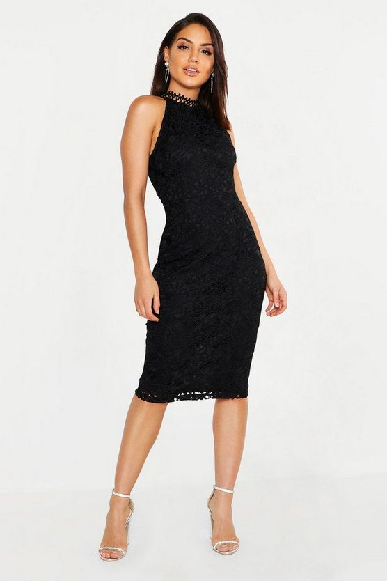 Womens Black Premium Lace High Neck Midi Dress