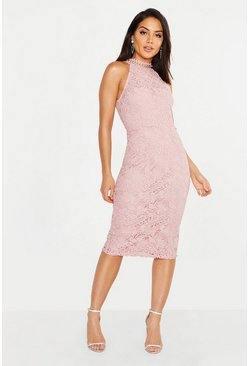 Womens Pink Premium Lace High Neck Midi Dress