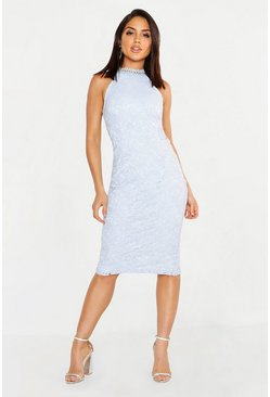 Womens Sky Premium Lace High Neck Midi Dress