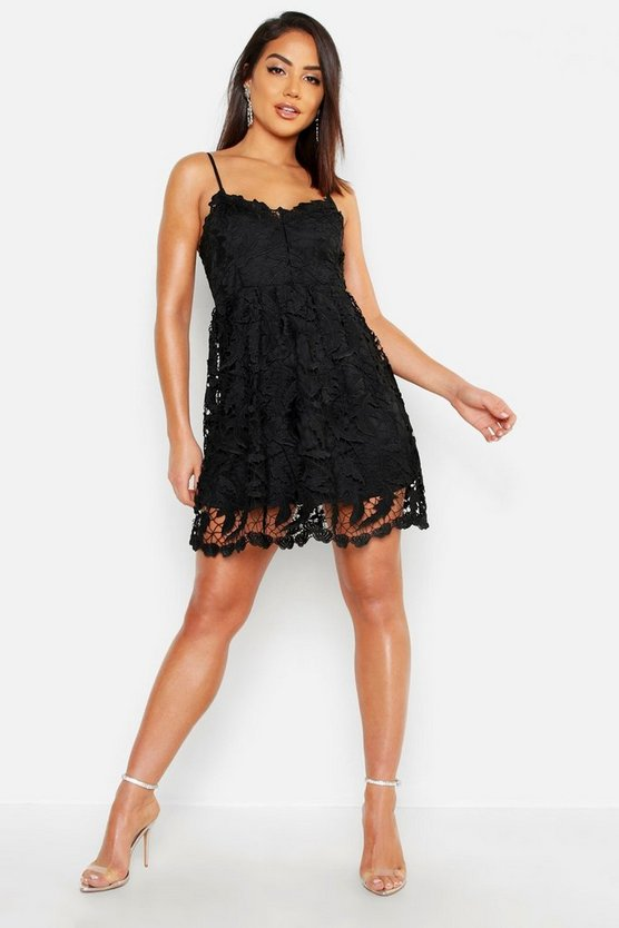 Womens Black Premium Lace Skater Dress