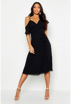 Womens Black Chiffon Cold Shoulder Wrap Midi Skater Dress