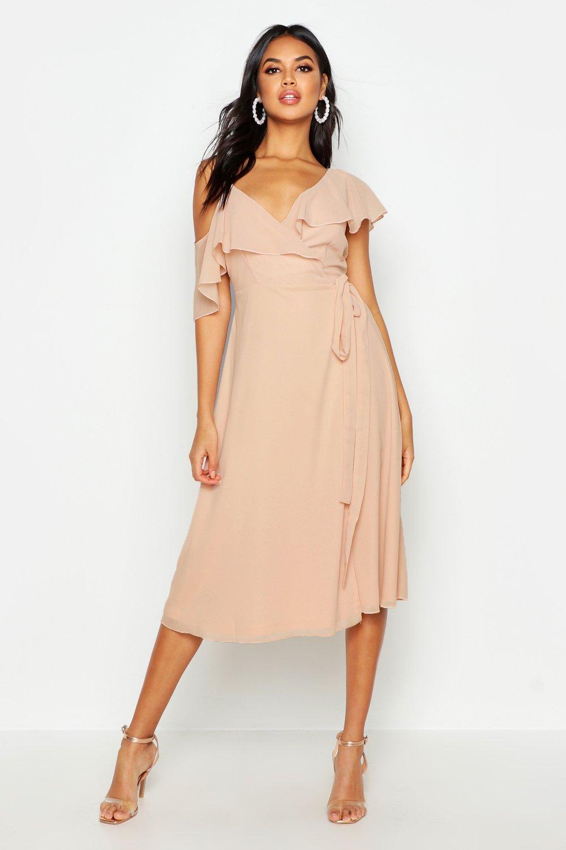 70s Prom, Formal, Evening, Party Dresses Womens Chiffon Cold Shoulder Wrap Midi Skater Dress - pink - 12 $52.00 AT vintagedancer.com