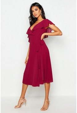 Womens Raspberry Chiffon Cold Shoulder Wrap Midi Skater Dress