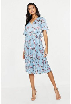 Womens Blue Floral Print Pleated Midi Skater Dress