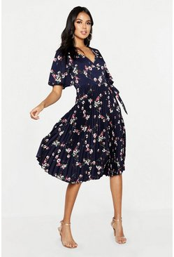 Womens Navy Floral Print Pleated Midi Skater Dress