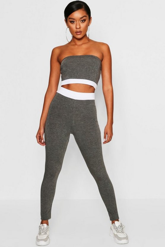 Womens Charcoal Contrast Waist Band Leggings