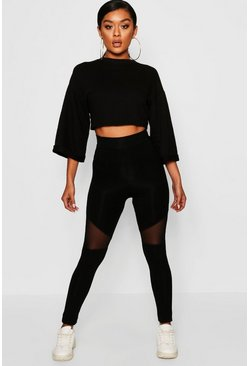 Womens Black Mesh Panel Leggings