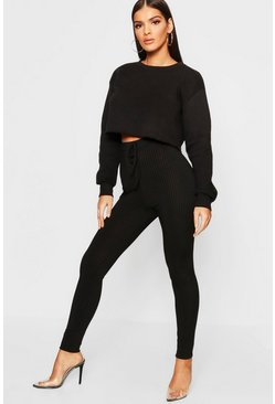 Womens Black Tie Waist Ribbed Leggings