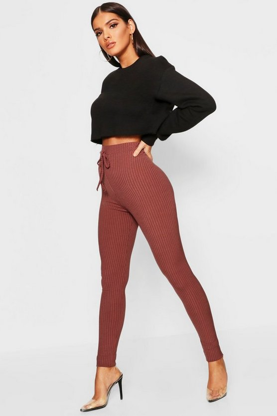 Tie Waist Ribbed Leggings