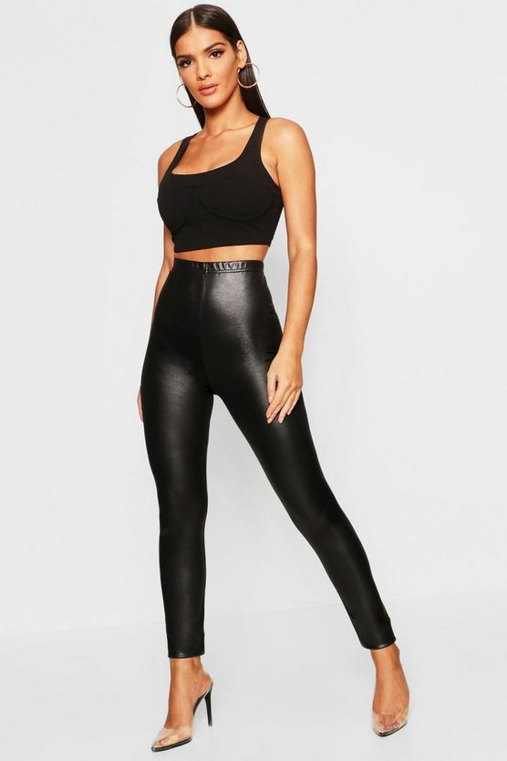 Womens Black Leather Look Stretch Leggings