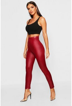 Womens Burgundy Leather Look Stretch Leggings