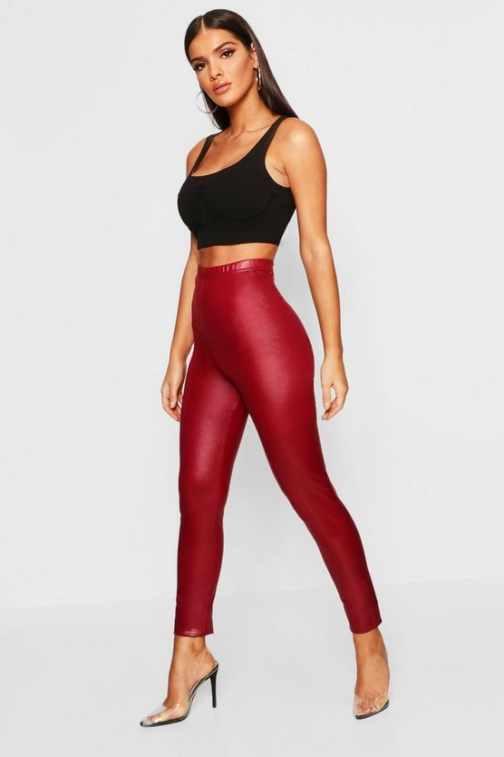 Womens Burgundy Leather Look Leggings
