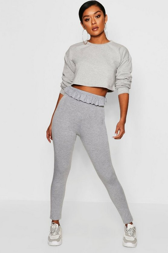 Grey marl Paperbag Waist Leggings