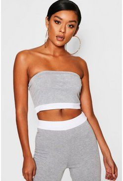 Womens Grey Contrast Band Bandeau Top