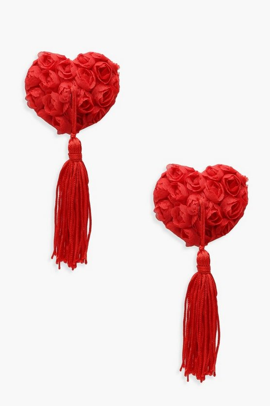 Womens Red Rose & Tassel Nipple Covers