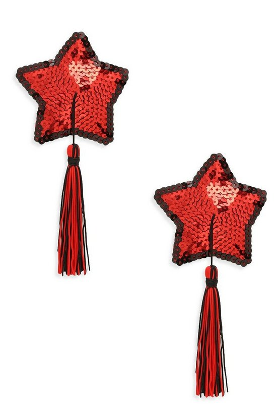 Womens Red Sequin Star Tassel Nipple Covers